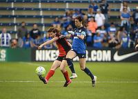 Kansas City, Kansas - Saturday April 16, 2016: FC Kansas City midfielder Erika Tymrak (15) chases Western New York Flash midfielder Elizabeth Eddy (4) at Children's Mercy Park. Western New York won 1-0.