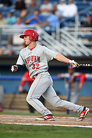 Auburn Doubledays outfielder Brian Langlois (32) at bat during a game against the Batavia Muckdogs on August 27, 2014 at Dwyer Stadium in Batavia, New York.  Auburn defeated Batavia 6-4.  (Mike Janes/Four Seam Images)