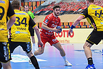 Ludwigshafens Bührer / Buehrer, Pascal (Nr.24) am Ball beim Spiel in der Handball Bundesliga, Die Eulen Ludwigshafen - HSC 2000 Coburg.<br /> <br /> Foto © PIX-Sportfotos *** Foto ist honorarpflichtig! *** Auf Anfrage in hoeherer Qualitaet/Aufloesung. Belegexemplar erbeten. Veroeffentlichung ausschliesslich fuer journalistisch-publizistische Zwecke. For editorial use only.