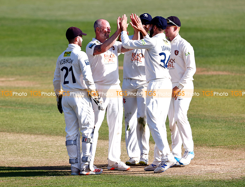 Darren Stevens (2nd L) of Kent is congratulated after bowling Adam Rossington during Kent CCC vs Northamptonshire CCC, LV Insurance County Championship Group 3 Cricket at The Spitfire Ground on 3rd June 2021