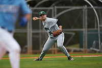 Dartmouth Big Green pitcher Austen Michel (35) throws to first base during a game against the Indiana State Sycamores on February 21, 2020 at North Charlotte Regional Park in Port Charlotte, Florida.  Indiana State defeated Dartmouth 1-0.  (Mike Janes/Four Seam Images)