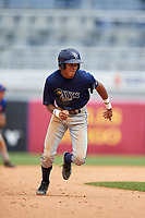 Delvin Perez (7) of Loiza, Puerto Rico playing for the Tampa Bay Rays scout team during the East Coast Pro Showcase on July 30, 2015 at George M. Steinbrenner Field in Tampa, Florida.  (Mike Janes/Four Seam Images)