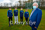 Principal Johnny Mulvihill welcome back students in St Michaels College Listowel who returned to school on Monday.  Front right: Johnny Mulvihill (Principal). Back l to r: Gearoid O'Sullivan, Jack O'Hanlon Daughton, Fionn Morrissey, Sean Spink.