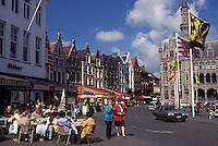 Brugge, Belgium, Bruges, West-Vlaanderen, Europe, Cafés along the Markt in downtown Bruges.