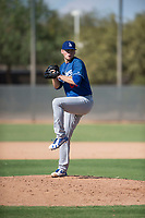 Los Angeles Dodgers relief pitcher Stephen Kolek (67) delivers a pitch during an Instructional League game against the Milwaukee Brewers at Maryvale Baseball Park on September 24, 2018 in Phoenix, Arizona. (Zachary Lucy/Four Seam Images)