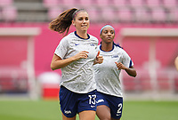 KASHIMA, JAPAN - AUGUST 2: Alex Morgan #13 of the United States warms up during a game between Canada and USWNT at Kashima Soccer Stadium on August 2, 2021 in Kashima, Japan.