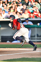 Mississippi Braves center fielder Matt Lipka (20) runs to first during a game against the Tennessee Smokies at Smokies Stadium on May 7, 2016 in Kodak, Tennessee. The Smokies defeated the Braves 5-3. (Tony Farlow/Four Seam Images)