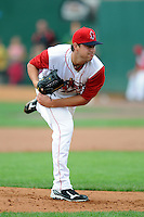 Lowell Spinners pitcher Brian Johnson #46 during a game versus the State College Spikes at LeLacheur Park in Lowell, Massachusetts on July 29, 2012. (Ken Babbitt/Four Seam Images)