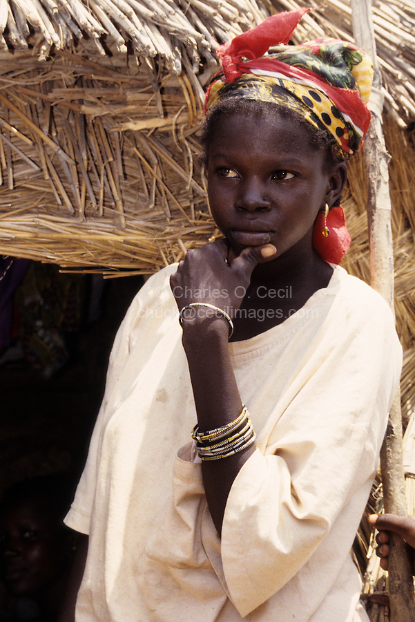 Near Bankilare, southwestern Niger - Young Bella Woman, Headdress, Bracelets