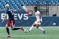 FOXBOROUGH, MA - JULY 25: USL League One (United Soccer League) match. Illal Osumanu #28 of Union Omaha passes the ball during a game between Union Omaha and New England Revolution II at Gillette Stadium on July 25, 2020 in Foxborough, Massachusetts.