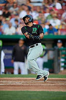 Dayton Dragons Juan Martinez (8) at bat during a Midwest League game against the Kane County Cougars on July 20, 2019 at Northwestern Medicine Field in Geneva, Illinois.  Dayton defeated Kane County 1-0.  (Mike Janes/Four Seam Images)
