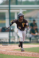 Pittsburgh Pirates shortstop Victor Ngoepe (19) runs to first base during a minor league Extended Spring Training intrasquad game on April 1, 2017 at Pirate City in Bradenton, Florida.  (Mike Janes/Four Seam Images)