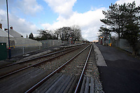 Pictured: The railway line and station running past Llangennech, west Wales. Thursday 24 February 2017<br />