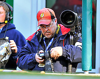 2 April 2011: Photographer Mark Goldman checks his digital images during a game between the Washington Nationals and the Atlanta Braves at Nationals Park in Washington, District of Columbia. The Nationals defeated the Braves 6-3 in the second game of their season opening series. Mandatory Credit: Ed Wolfstein Photo