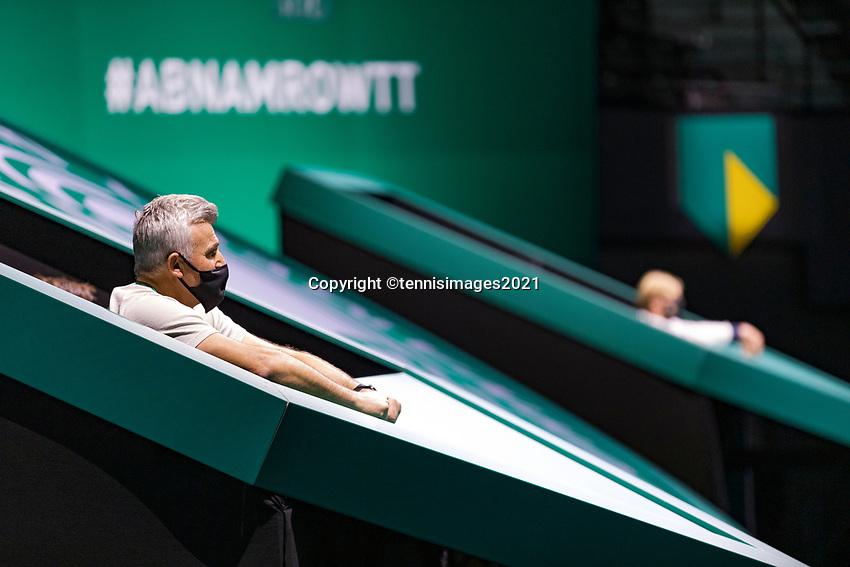 Rotterdam, The Netherlands, 6 march  2021, ABNAMRO World Tennis Tournament, Ahoy,  <br /> Semi final: Coach of Stefanos Tsitsipas (GRE), Apostolos Tsitsipas (GRE).<br /> Photo: www.tennisimages.com/