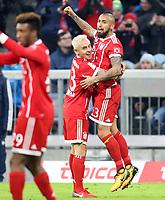 02.12.2017,  Football 1.Liga 2017/2018, 14. match day, FC Bayern Muenchen - Hannover 96, in Allianz-Arena Muenchen.   v.li:  Rafinha (FC Bayern Muenchen) and goalschuetze  1:0 Arturo Vidal (FC Bayern Muenchen). *** Local Caption *** © pixathlon<br /> <br /> +++ NED + SUI out !!! +++<br /> Contact: +49-40-22 63 02 60 , info@pixathlon.de
