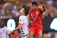 Action photo during the match Peru vs Colombia, Corresponding to the quarterfinals of the America Cup 2016 Centenary at Metlife Stadium.<br /> <br /> Foto de accion durante el partido Peru vs Colombia, Correspondiente a los Cuartos de Final de la Copa America Centenario 2016 en el Estadio Metlife, en la foto: Santiago Arias y Edison Flores<br /> <br /> <br /> 17/06/2016/MEXSPORT/Osvaldo Aguilar.