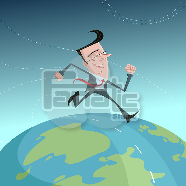Illustrative image of happy businessman running across the world representing globalization