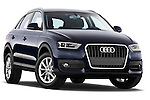 Low aggressive passenger side front three quarter view of 2012 Audi Q3 SUV Stock Photo