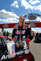 Sept 8, 2012; Clermont, IN, USA: NHRA pro stock driver Greg Anderson during qualifying for the US Nationals at Lucas Oil Raceway. Mandatory Credit: Mark J. Rebilas-