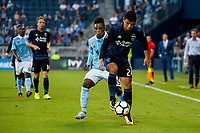 Kansas City, KS - Wednesday August 9, 2017: Latif Blessing, Nick Lima during a Lamar Hunt U.S. Open Cup Semifinal match between Sporting Kansas City and the San Jose Earthquakes at Children's Mercy Park.