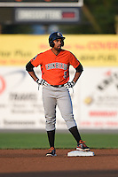 Aberdeen IronBirds outfielder Jamill Moquete (9) stands on second during a game against the Williamsport Crosscutters on August 4, 2014 at Bowman Field in Williamsport, Pennsylvania.  Aberdeen defeated Williamsport 6-3.  (Mike Janes/Four Seam Images)