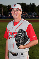Lowell Spinners Pitcher Tyler LaVigne poses for a photo before a game vs. the Batavia Muckdogs at Dwyer Stadium in Batavia, New York July 16, 2010.   Batavia defeated Lowell 5-4 with a walk off RBI single.  Photo By Mike Janes/Four Seam Images