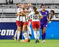 Orlando, FL - Saturday July 07, 2018: Ashley Hatch, goal celebration during the first half of a regular season National Women's Soccer League (NWSL) match between the Orlando Pride and the Washington Spirit at Orlando City Stadium.
