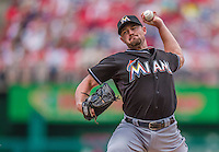 22 September 2013: Miami Marlins pitcher Mike Dunn on the mound against the Washington Nationals at Nationals Park in Washington, DC. The Marlins defeated the Nationals 4-2 in the first game of their day/night double-header. Mandatory Credit: Ed Wolfstein Photo *** RAW (NEF) Image File Available ***