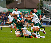 11th September 2021; Galway Greyhound Stadium, Connacht, Galway, Ireland; Pre-season rugby union, Connacht versus London Irish; Cian Prendergast (Connacht) is stopped just short of the try line