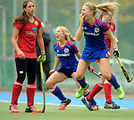 GER - Mannheim, Germany, October 25: During the final at the Deutsche Meisterschaft WJB between Mannheimer HC (blue) and Bremer HC (red) on October 25, 2015 at Mannheimer Hockey Club in Mannheim, Germany. (Photo by Dirk Markgraf / www.265-images.com) *** Local caption *** Camille Nobis #80 of Mannheimer HC