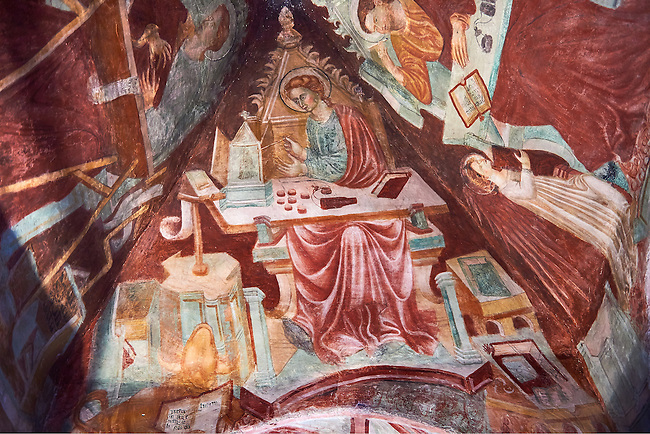 Frescoes on the inside of the rare early Gothic altar canipe of the Basilica Church of Santa Maria Maggiore, Tuscania