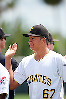 GCL Pirates pitcher Brian Sousa (67) high fives teammates after a game against the GCL Yankees East on August 15, 2016 at the Pirate City in Bradenton, Florida.  GCL Pirates defeated GCL Yankees East 5-2.  (Mike Janes/Four Seam Images)