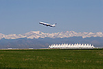 Commercial airplane taking off from Denver International Airport (DIA), east of Denver, Colorado. .  John offers private photo tours in Denver, Boulder and throughout Colorado. Year-round Colorado photo tours.