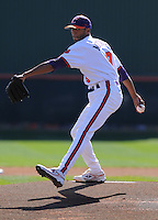 Clemson University starting pitcher D.J. Mitchell (9) in a game between the Clemson Tigers and USC Gamecocks on March 2, 2008, at Doug Kingsmore Stadium in Clemson. Photo by: Tom Priddy/Four Seam Images
