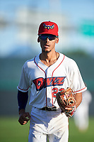 Orem Owlz shortstop Jeremiah Jackson (23) jogs off the field between innings of a Pioneer League game against the Idaho Falls Chukars at The Home of the OWLZ on August 13, 2019 in Orem, Utah. Orem defeated Idaho Falls 3-1. (Zachary Lucy/Four Seam Images)