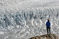 A hiker views Exit Glacier and the Harding Icefield from the Harding Icefield trail, Kenai Fjords National Park, Alaska.  (MR