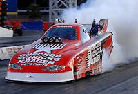 Jan 21, 2007; Las Vegas, NV, USA; NHRA Funny Car driver Del Worsham does a burnout during preseason testing at The Strip at Las Vegas Motor Speedway in Las Vegas, NV. Mandatory Credit: Mark J. Rebilas