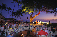 "Sunset hula show with Diamond Head backdrop, Waikiki beach bar/ restaurant """"House Without a Key"""", Halekulani Hotel"