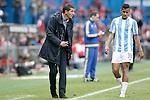 Malaga CF's coach Javi Gracia with his player Roberto Rosales during La Liga match. April 23,2016. (ALTERPHOTOS/Acero)