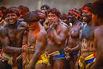 Wrestlers at Kwarup ceremony, Upper Xingu Indians, Matogrosso, Brazil