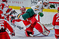 29 December 2018: University of Vermont Catamount Forward Vlad Dzhioshvili, a Sophomore from Moscow, Russia, flies through the crease as RPI Goaltender Owen Savory, a Freshman from Cambridge, ON, makes the save in the third period of play at Gutterson Fieldhouse in Burlington, Vermont. The Catamounts rallied to defeat the Engineers 4-2 and take the Catamount Cup in the annual tournament at the Gut. Mandatory Credit: Ed Wolfstein Photo *** RAW (NEF) Image File Available ***