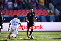 DENVER, CO - JUNE 3: Giovanni Reyna #7 of the United States during a game between Honduras and USMNT at Empower Field at Mile High on June 3, 2021 in Denver, Colorado.