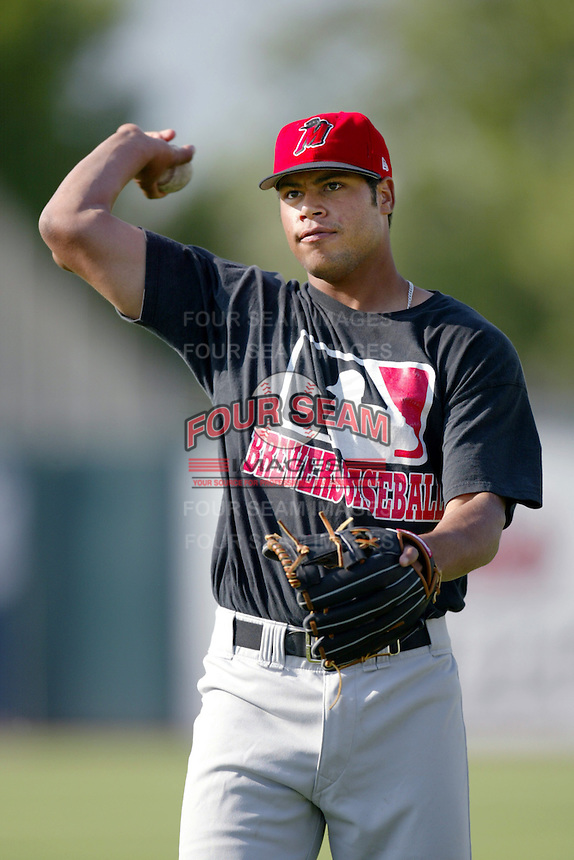 Daryl Clark of the High Desert Mavericks before a California League 2002 season game against the San Bernardino Stampede at San Manuel Stadium, in San Bernardino, California. (Larry Goren/Four Seam Images)