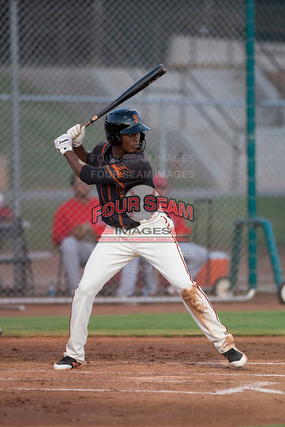 AZL Giants Black center fielder Alexander Canario (14) at bat during an Arizona League game against the AZL Angels at the San Francisco Giants Training Complex on July 1, 2018 in Scottsdale, Arizona. The AZL Giants Black defeated the AZL Angels by a score of 4-2. (Zachary Lucy/Four Seam Images)