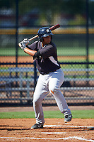 GCL Yankees West first baseman Miguel Flames (48) at bat during a game against the GCL Yankees East on August 3, 2016 at the Yankees Complex in Tampa, Florida.  GCL Yankees East defeated GCL Yankees West 12-2.  (Mike Janes/Four Seam Images)