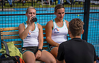 Netherlands, September 6,  2020, Amsterdam, Padel Dam, NK Padel, National Padel Championships, Final womans double:  Tess van Dinteren (NED) and Milou Ettekoven (NED) being coached during changeover.<br /> Photo: Henk Koster/tennisimages.com