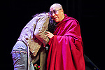 © Joel Goodman - 07973 332324 . 16/06/2012 . Manchester , UK . RUSSELL BRAND and the DALAI LAMA at the Stand Up and Be the Change youth event , hosted by the Dalai Lama during a 10 day UK tour , at the Manchester Arena . Photo credit : Joel Goodman