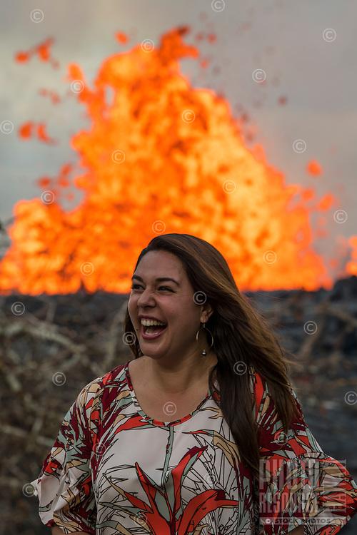 May 2018: Mileka Lincoln, reporter with Hawaii News Now, at the Kilauea Volcano eruption in Leilani Estates, Puna, Big Island of Hawai'i.