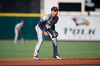 Fort Myers Miracle shortstop Royce Lewis (4) during a game against the Lakeland Flying Tigers on August 7, 2018 at Publix Field at Joker Marchant Stadium in Lakeland, Florida.  Fort Myers defeated Lakeland 5-0.  (Mike Janes/Four Seam Images)